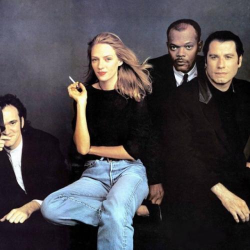 Квентин Тарантино, Ума Турман, Сэмюэл Л. Джексон и Джон Траволта, октябрь 1994 года.