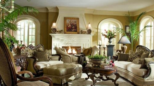 Дизайн гостиной с мебелью в стиле ретро